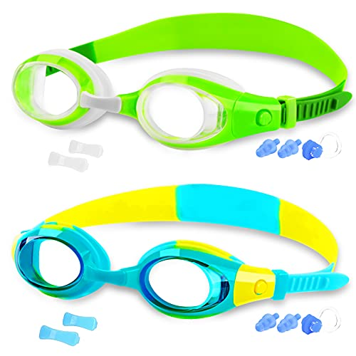 COOLOO Kids Swim Goggles, Swimming Glasses for Children Youth and Early Teens from 3 to 15 Years Old, Anti-Fog, Waterproof