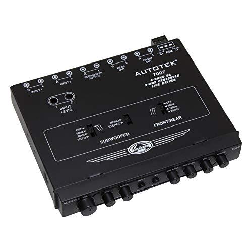 Autotek 7007 Multiple Source Signal Processor (Black) – .5 Inch DIN, 2-Way, 4-Band EQ, 9 Volt Line-Driver, 2 Inputs, 3 Outputs, Master Volume Control, Subwoofer Control, Includes Bass Remote