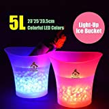 Colorful LED secchiello del ghiaccio champagne vino bevande birra Ice Cooler bar party 5L