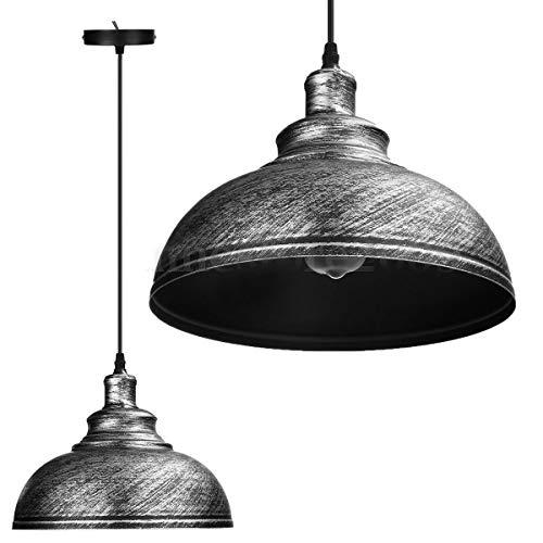 Retro Vintage Hanger Plafonds Licht Metaal Hedendaagse Diffuser lampenkap - Set van 3 (Antiek Zilver)