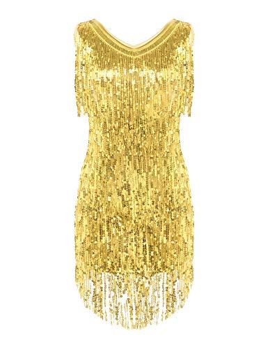 Freebily Abito Vintage Elegante Paillettes Tubino Cocktail Vestito da Sera Donna 1920S Abito Anni 20...