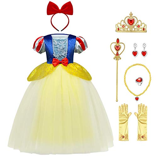 FYMNSI Disfraz de Blancanieves para Niña, Chica Infantil Bl