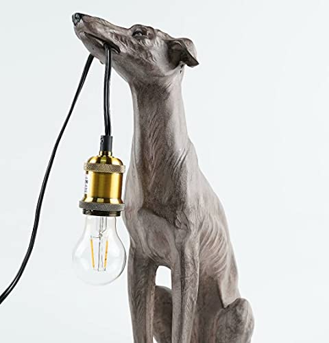 Table Lamps Modern Bed Side lamp with Lampshade Resin Dog Animal Table lamp Black White Color...