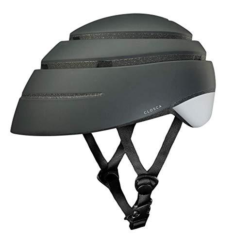 Closca Casco de Bicicleta para Adulto, Plegable Helmet Loop. Casco de Bici y Patinete Eléctrico/Scooter para Mujer y Hombre Unisex. Negro/Blanco, Talla L