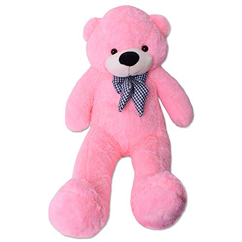 TE-Trend Rosa Riesen Plüsch Teddybär XXL Großer Teddy Bär Kuschelbär Kuscheltier Schleife 120 cm Plüschbär Pink