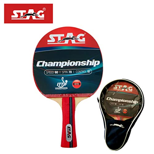 Stag Championship Table Tennis Racquet( Multi- Color, 172 grams, Intermediate )