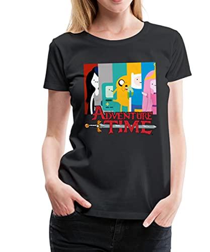 Spreadshirt Adventure Time Mit Finn Und Jake Seite An Seite Frauen Premium T-Shirt, XL, Schwarz