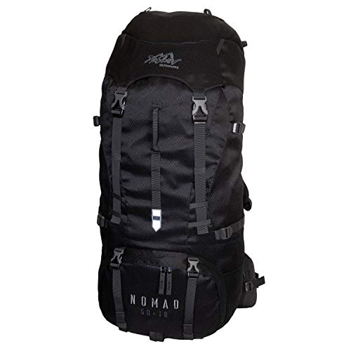 Tashev Outdoors Nomad Trekkingrucksack Wanderrucksack Damen Herren Backpacker Rucksack groß 60l Plus 10l (Hergestellt in EU) (Schwarz)