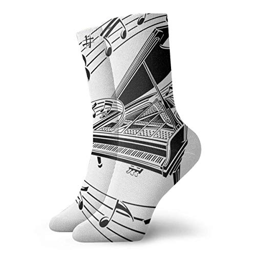 Generic Tablature Piano Keys Mens gedruckt lustige Neuheit Casual Crew Dress Socken für Frauen/Unisex 19,7 Zoll
