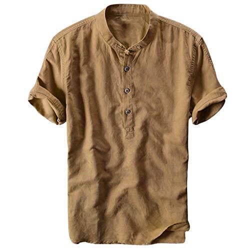 KUKICAT Chemise Homme Lin Manches Courtes Blouse Hommes Grande Taille Tops T Shirt Slim Fit Chemises Été Casual Tee
