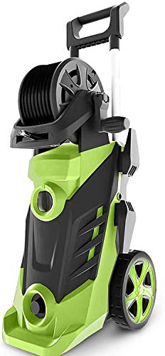 Pressure Washer Homdox 3400PSI Electric Pressure Washer, 2.6GPM Electric Power Washer High Pressure Washer with Hose Reel, Spray Gun, Brush, and 4 Quick-Connect Spray Tips (Green)