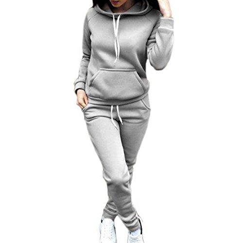 Donna Tuta da Ginnastica 2 Pezzi - Moda Manica Lunga Felpa con Cappuccio e Lungo Pantaloni Invernali Autunno Calda Tuta Jogging Training Sportiva Casual Abbigliamento Sportivo