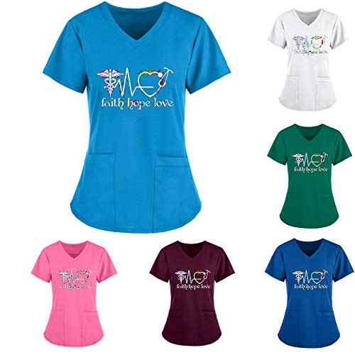 PJQQ Scrub Top,Womens Ideal for Nurses, Care Home and Private Health Care Workers Healthcare and Beauty Tunics Woman Girls Ladies Tops Office Uniform Shirts in Multicolors 2021 Work Shirt