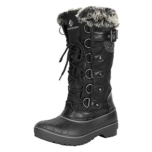 DREAM PAIRS Women's DP-Avalanche Black Faux Fur Lined Mid Calf Winter Snow Boots Size 9 M US