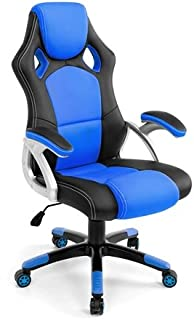 NEADER Ergonomic Gaming/Office Chair High Back Swivel PU Leather & Mesh Computer Racing Chair Thickened Headrest and Padded Cuchion Gas Lift Recliner Desk Chair- Blue