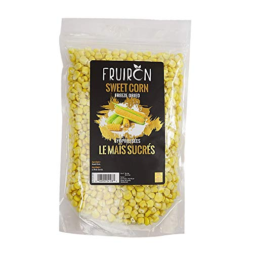 Fruiron Freeze Dried Sweet Corn Kernels - 140g | Low Calorie Healthy Snack, Source of Many Nutrients, Raw, Non-GMO