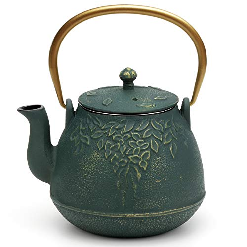 Tea Kettle, TOPTIER Japanese Cast Iron Teapot with Infuser, Leaf Design Cast Iron Tea Pot Stovetop Safe Coated with Enameled Interior for 40 Ounce (1200 ml), Dark Green