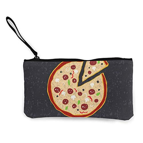 Canvas coin purse Pizza. Women and Girls Cute Fashion Canvas Coin Purse Change Coin Bag Zipper Small Purse Wallets for Keychain Money Travel Pouches
