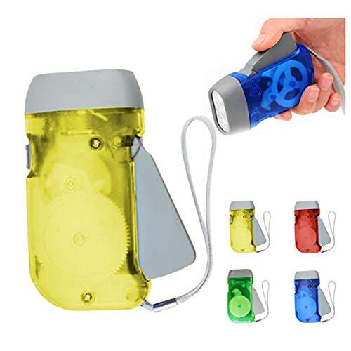 housesweet Mini 3LED Dynamo Taschenlampe Taschenlampe Licht Hand drücken Kurbel für Outdoor Sport Camping, gelb, Square 1.50W