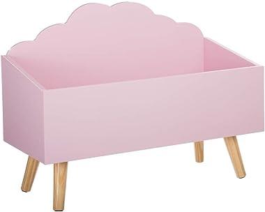 Coffre à jouets Meuble de rangement - Forme Nuage - Coloris ROSE