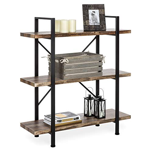 Best Choice Products 3-Tier Industrial Bookcase, Open Wood Shelves w/Metal Frame, Home and Office Storage Display Furniture, Brown/Black