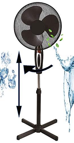 Standventilator Ø41 cm | 40 Watt | 3 Stufen | Leiser Betrieb | Ventilator | 180° Rotation | Windmaschine | Luftkühler | Klimagerät | Turmventilator | Bodenventilator | Fan | Höhenverstellbar