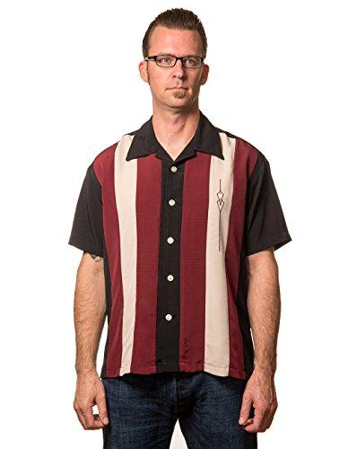 Steady Clothing Herren Vintage Bowling Hemd - The Sheen Dunkelrot Bowling Shirt S