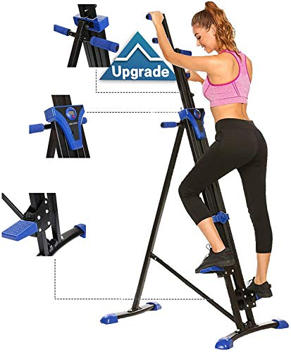 Mauccau 2021 New Upgrade Vertical Climber Machine Home Gym Exercise Folding Climbing Machine Fitness Stepper for Whole Body Cardio Workout Training (Blue)