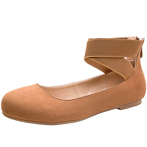 Luoika Women's Wide Width Flat Shoes - Elastic Cross Straps Slip On Round Toe Ballet Flats.(180302,Brown MF,size10)