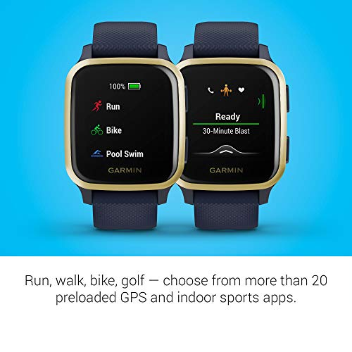 Garmin Venu Sq Music, GPS Smartwatch with Bright Touchscreen Display, Features Music and Up to 6 Days of Battery Life, Light Gold and Navy Blue