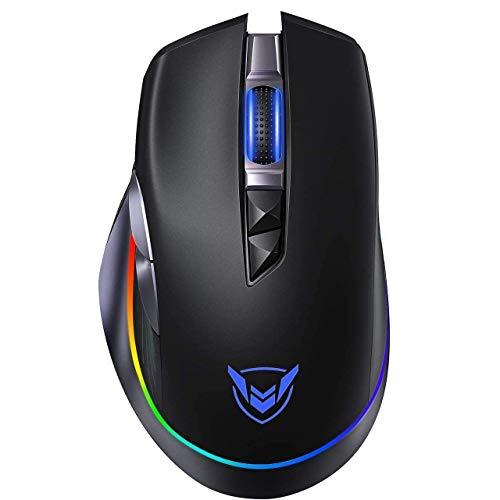Holife Gaming Maus kabellos mit cool RGB, ergonomische wiederaufladbare & 8 programmierbare Tasten(Feuertaste)&10.000 DPI Wireless Maus, Langer Stunden Akkulaufzeit, Daumenauflage, optische PC Mouse