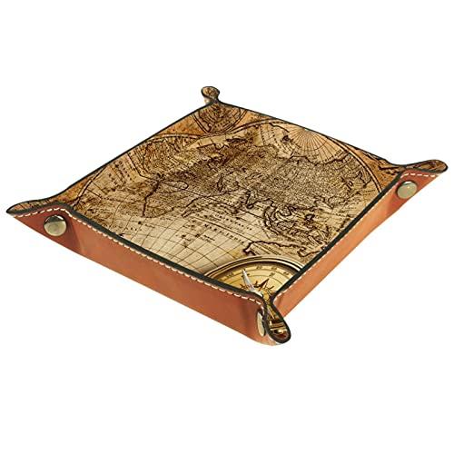 Caja de almacenamiento pequeña, bandeja de valet para hombre,Brújula retro del mapa del mundo ,Organizador de cuero para llaves de caja de monedas