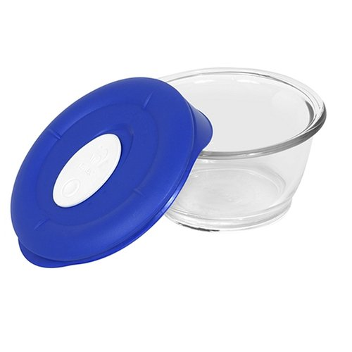 Pyrex Storage Deluxe 1-2/3-Cup Round Dish, Clear with Blue Lid