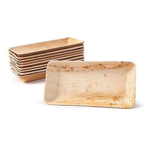 BIOZOYG Snack Schälchen Set I 25 Bio Einweg Schalen rechteckig 125ml, 13,5x8cm I Partygeschirr kompostierbar, biologisch abbaubar I Palmblätter Einweg-Geschirr für Fingerfood Dips Verkostung Buffet