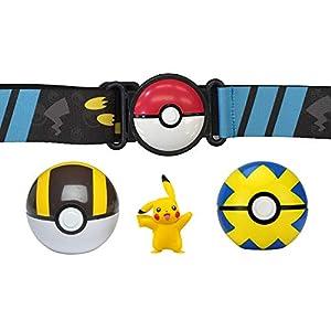 WCT Pokemon Clip 'n' Go Ball Belt con Figura de Pikachu Que se Alegra y 2 pokebolas Oficiales Originales
