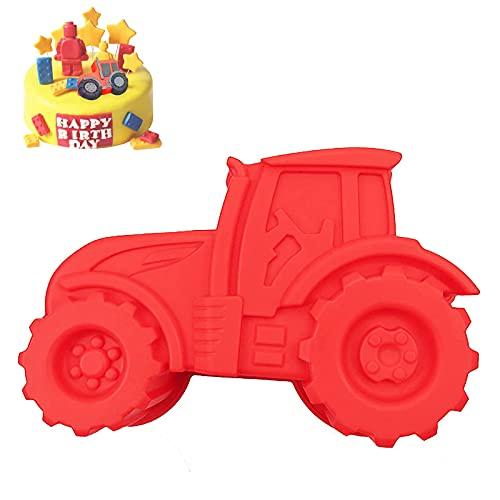 Backform Traktor - Auto Form Silikonform Rote Kuchenform zum Backen für Kindergeburtstag Silikonformen Backen Bulldog Motivform Silikontraktor für Kuchen EIS Schokolade Brot Dessert Pudding