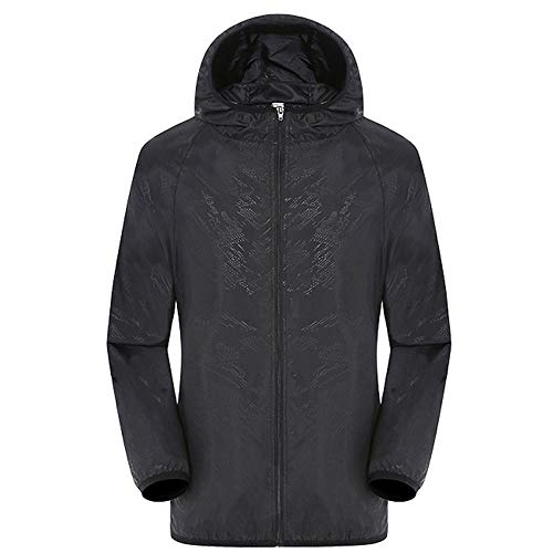 QPYJ Wasserdichter Regenponcho Waterproof Rain Poncho Women Ultralight Windproof Waterproof Jacket Windbreaker Sport Rain Coat-Black_XXL
