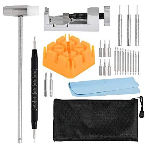 29 Stück Uhrenwerkzeug Set Professional-Uhrmacherwerkzeug Set für Uhrenarmbänder, Uhren Armband Werkzeugset mit Tragetasche, Werkzeugsatz zum Entfernen von Stiftverbindungen, Uhren Werkzeug Wechseln