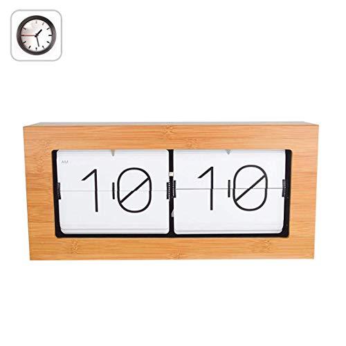 Bamboo Flip Clock, HauptDécor Tischuhr, Wanduhr, Interne Getriebe betrieben Uhr für Wohnzimmer Décor,Weiß