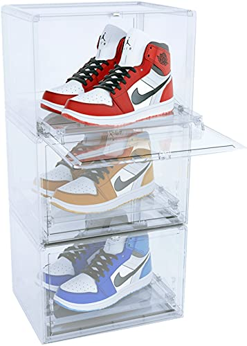 Vividness Shoe Cabinet Shoe Storage Boxes Plastic Stackable Shoe Containers Drawer Type Shoe Organizer Bins Automatically Sliding Front Display 10 Inch Height-3 Pack (WHITE)