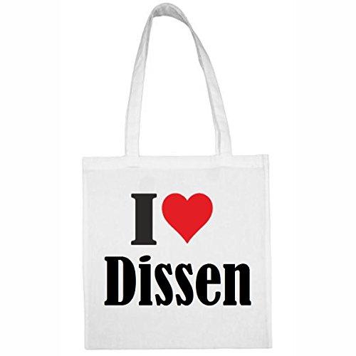 Tasche I Love Dissen Größe 38x42 Farbe Weiss Druck Schwarz