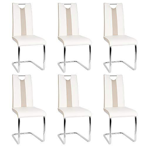 Esszimmerstuhl mit Hoher Rückenlehne, Schwingstuhl Set, 6-er Set, Weiß + Beige