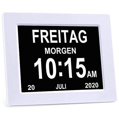 YAXING/DC801/Seniorenuhr 8 Zoll. Digitale Kalender und Seniorenuhr  Foto-Funktion - Digitale Uhr, Wecker, Kalender für Senioren & Demenzkranke (z.B. Alzheimer) mit Erinnerungsfunktion