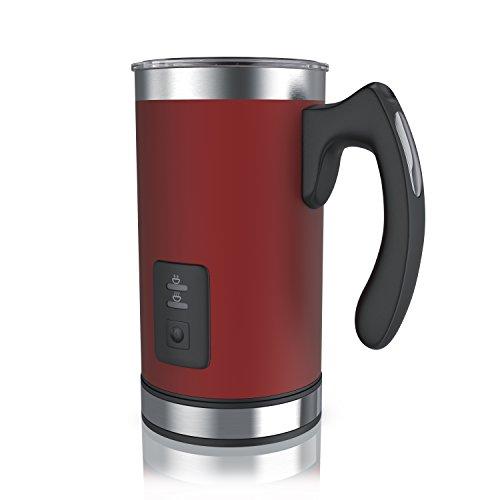 arendo - Espumador de Leche automático - Batidor Milk Frother - con asa para manejo y porcionamiento Seguros - 2 Teclas para espumar en Caliente y en frío - 500 W - Acero Inoxidable - Libre de BPA