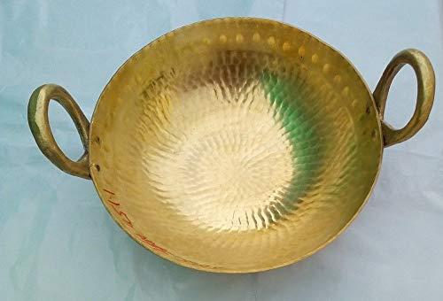 PLANET 007 Indian Traditional Brass Regular Karahi Cooking Kadai Cooking Wok Capacity 2 Litre