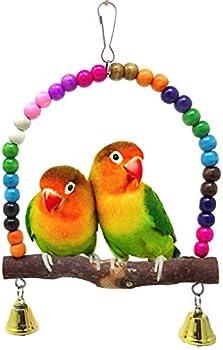 FayTun Jouet pour perroquet, balançoire pour oiseaux, perroquets en bois naturel, balançoire avec clochettes pour petits conures, oiseaux amoureux, petites perruches, calopsittes, aras