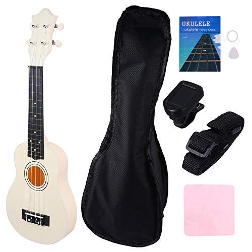 Holibanna 1 Set 12 Zoll Musical Gitarre Set Kleine Holz Ukulele Gitarre Spielzeug mit Lagerung Tasche Werkzeuge Akustische Musical Instrument für Erwachsene Kinder Weiß