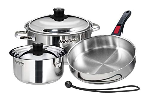 Magma Products, A10-362 7 Piece Gourmet Nesting Stainless Steel Cookware Set, Silver