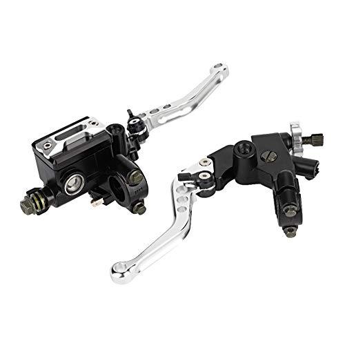 1 par palanca universales de freno, palancas de cilindro de freno y embrague para Motocicletas con manillar de 7/8 pulgadas (22mm)(Plata)
