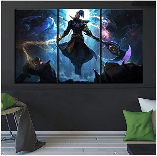 Juego League of Legends lienzo impresiones póster pintura de pared decoración del hogar imágenes abstractas sala de estar creativa -40x80cmx3 sin marco